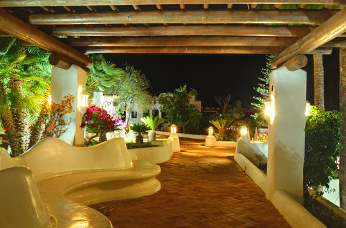 Illuminated recreation area of luxury hotel, Tenerife island, Spain